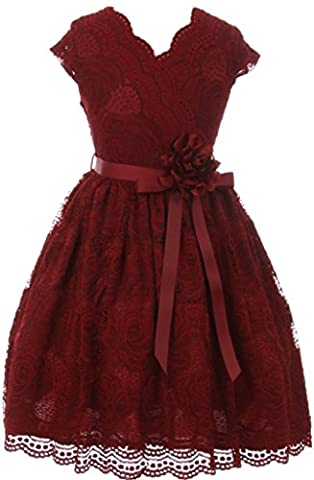 Little Girl Cap Sleeve V Neck Flower Stretch Lace Corsage Birthday Holiday Dress (20JK66S) Burgundy - Holiday Stretch Lace Dress