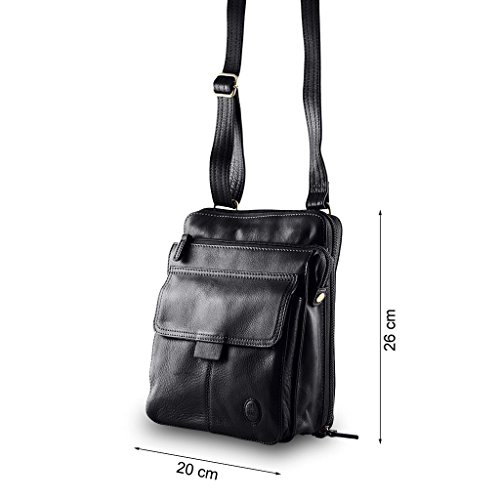 leather compartment Nuvola 3 shoulder Pelle strap Man's bag Black with Ifq4nwd
