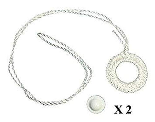 Ring Shade Pulls - Shade Doctor of Maine Two Pack Roller Window Shade Double Crochet White Ring Pull & Screw Button Set from