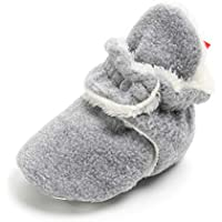 Sawimlgy Baby Boys Girls Warm Fleece Ankle Booties Soft Sole Non-Skid Sock Shoes Prewalkers Frist Birthday Gift