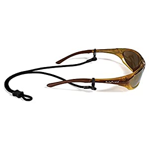 Croakies Terra Spec Adjustable Rope Eyeglass and Sunglass Retainer / Sport Strap, Black (2 Pack)