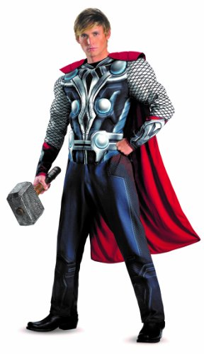 Disguise Marvel's Avengers Movie Thor Avengers Classic Muscle Adult Costume, Red/White/Silver, XX-Large/(50-52)