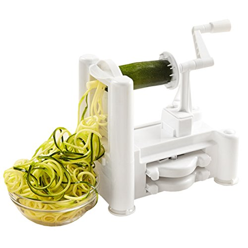 Kinzi Spiral07 Sp TriBlade Vegetable and Fruit Spiral Slicer Chopper Veggie Pasta Spaghetti Maker 1 White