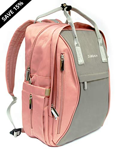 Diaper Baby Bag Backpack for Mom & Dad, Zobban | Changing Pad & Stroller Straps | Waterproof, Multifunction, Stylish Organizer for Boys & Girls | Lightweight Travel Nappy Maternity (Pink Gray/Grey)