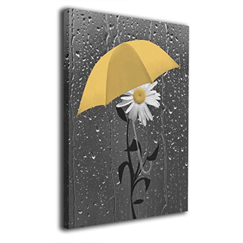 Ale-art Yellow Gray Daisy Flower Raindrops Oil Paintings On Canvas Modern Canvas Wall Art Contemporary Artwork for Wall Decorations Home Decor 16
