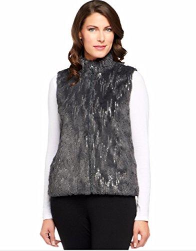 モーション最も遠い告発Joan河川Mandarin襟フェイクファーベストminiature-sequinsブラックミディアムブラック金曜日特別な