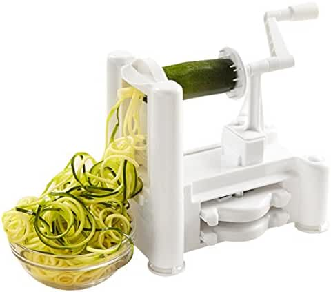 Kinzi Tri-Blade Vegetable and Fruit Spiral Slicer Chopper, Veggie Pasta Spaghetti Maker