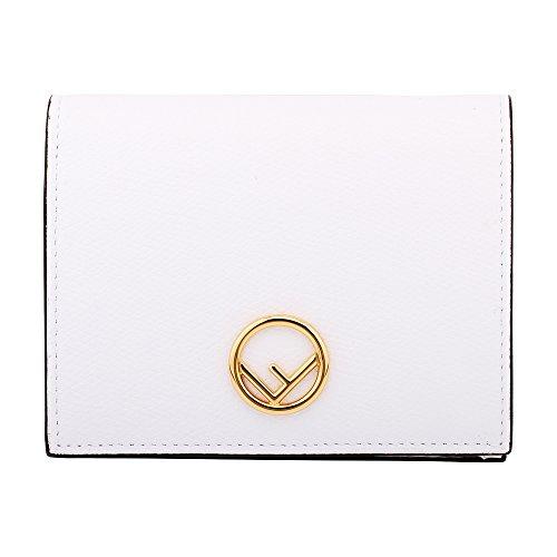 Fendi Leather White (Fendi Bifold Ladies Small White Leather Compact Wallet 8M0387A18BF11CB)