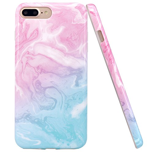 iPhone 7 Plus Case, iPhone 8 Plus Case, JAHOLAN Pink Blue Marble Design Clear Bumper TPU Soft Rubber Silicone Cover Phone Case for Apple iPhone 7 Plus / iPhone 8 Plus (Pink Blue Case Phone)