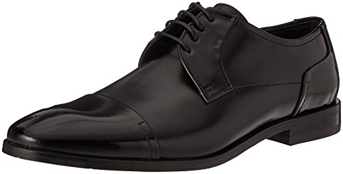 HUGO by Hugo Boss Men's Square Business Matte Leather Lace up Derby Work Shoe, Black, 10 N US by HUGO BOSS