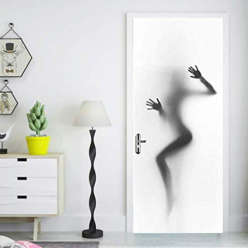 FLFK 3D Sexy Girl Silhouette Door Wall Sticker Photo PVC Waterproof Wall Mural for Home Room Decoration 30.3