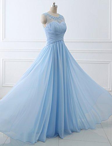 Erosebridal Blume Abendkleid Bodenlänge Rüschen Chiffon mit Blau rxXrwTqE