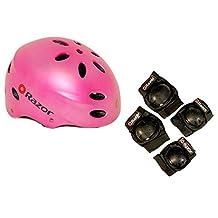 Razor V17 Child Skateboard / Scooter Pink Sport Helmet w/ Elbow & Knee Pads
