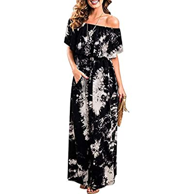 Womens Party Dresses Bohemian Sleeveless V Neck Solid Ankle Length Dress