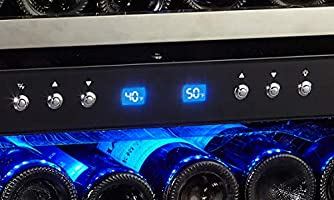Compressor Cooling with Press Button Temperature Setting Handle Pro Stainless Steel Frame /& Door phiestina Phiestina 24 Built-in or Free-standing 46 Bottle Wine Cooler Refrigerator Sliding Racks