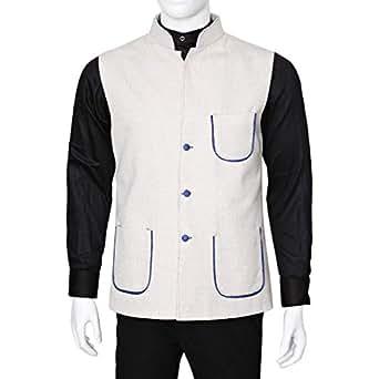 Libas Riyaz Gangji White Linen Vest For Men