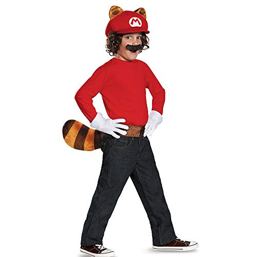Disguise Mario Raccoon Super Mario Bros. Nintendo Child Kit, One Size Child, One Color (Kids Raccoon Costume)