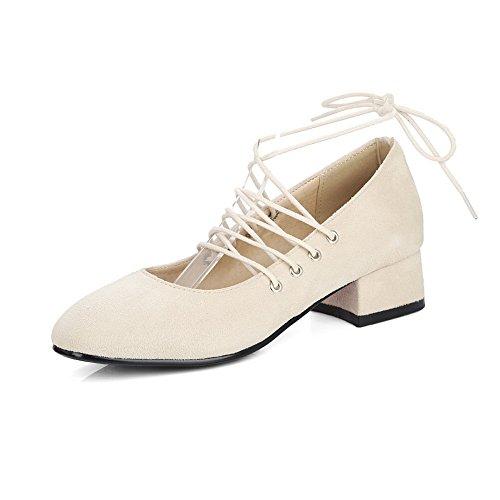 Balamasa Ladies Low-cut Uppers Vendaje Square Heels Urethane Pumps-Zapatos Beige