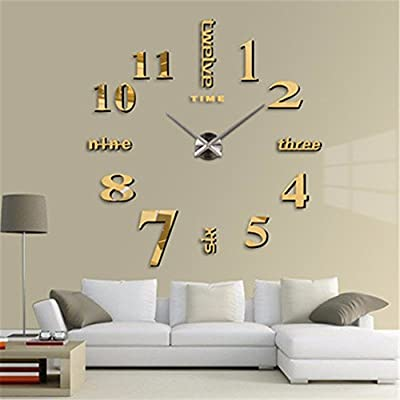 LKYN Reloj de Pared Enorme Salón de Arte Moda DIY Reloj Relojes Relojes de Pared Reloj Adhesivo Creativo,Golden 2