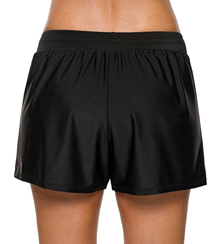 beautyin Womens Swim Bottoms Board Shorts Swimsuit Bathing Suit Shorts Black 2XL by beautyin (Image #2)