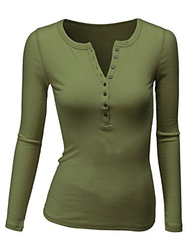 Doublju Long Sleeve Thermal Henley T-Shirt for Women with Plus Size Olive 3XL