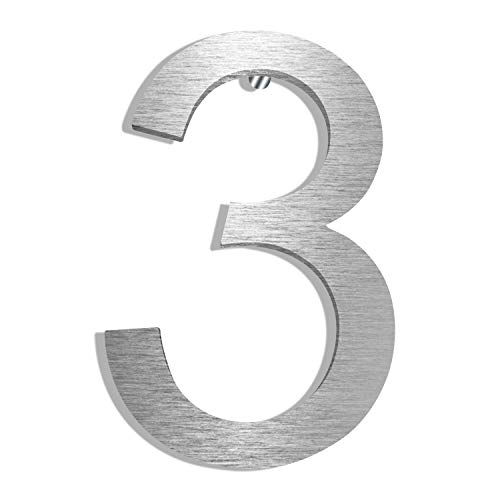 Modern House Numbers 5-Inch, Elegant Floating Appearance with Brushed Nickel Finish,Solid 304 Stainless Steel Address Number (Number ()