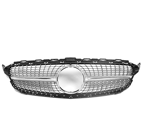 ZMAUTOPARTS Mercedes-Benz C-Class W205 Diamond Style Front Upper Hood Grille Silver with Chrome Trim
