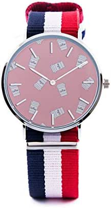 Unisex Fashion Watch Water Glass Container Daily Necessities Print Dial Quartz Stainless Steel Wrist Watch with Nylon NATO Strap Watchband for Women Men 36mm Casual Watch