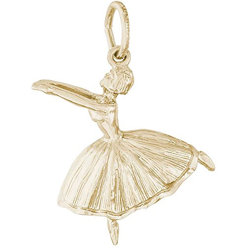 Rembrandt Charms Ballet Dancer Charm, Gold Plated (Dancer Charm Gold Plated)