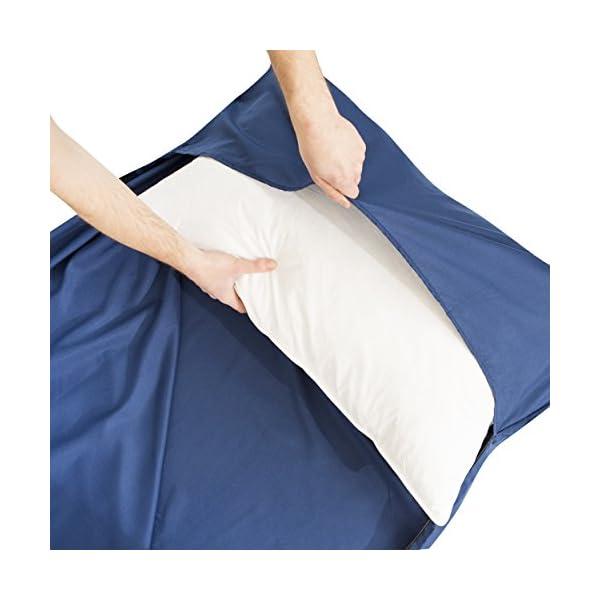 41vi0a15l1L Miqio® 2in1 Hüttenschlafsack mit durchgängigem Reißverschluss (Links oder rechts): Leichter Komfort Reiseschlafsack und…