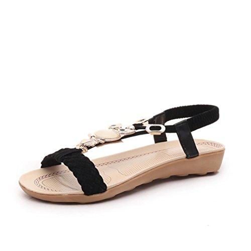 Ouneed® Flip Flops Damen Erwachsene Zehentrenner , 2016 Frauen arbeiten Sommer flachen Flip Flops Sandalen Slipper Böhmen Schuhe (39, Schwarz)