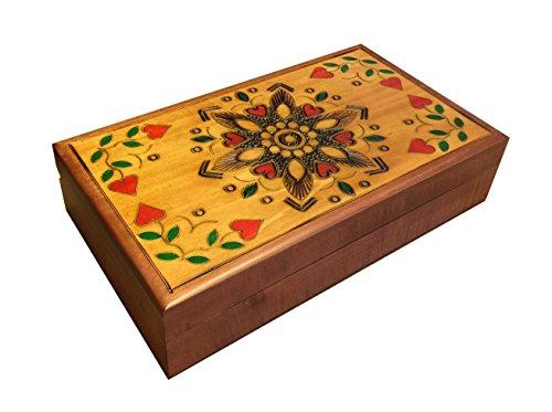 Polish Handmade Wood Traditional Jewelry Box Floral & Heart Design ()
