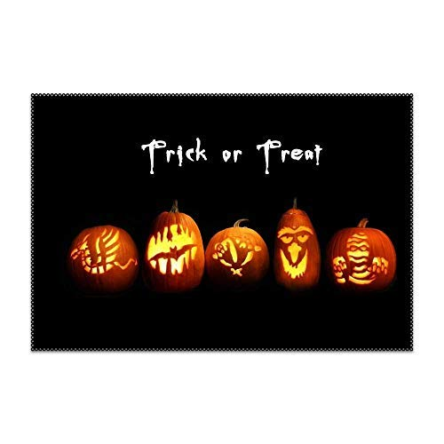 (Washable Easy to Clean Holiday Halloween Trick Or Treat Jack-o-Lantern Placemat for Kitchen Table Heat-resistand Table Mats Set of)
