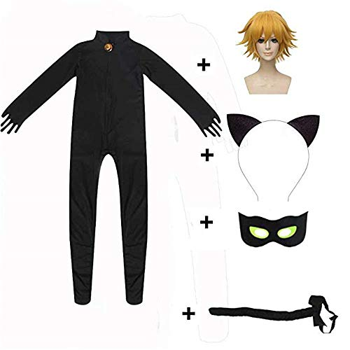 JOYEAR Kid's Costume Ladybug Cat Noir Boy or Girl Cosplay Clothing Black Cat Noir Jumpsuit Halloween Party Masquerade S (37-41inch), Wig ()
