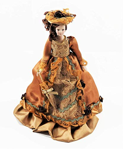 (Melody Jane Dollhouse Victorian Lady in Rust Outfit Porcelain 1:12)
