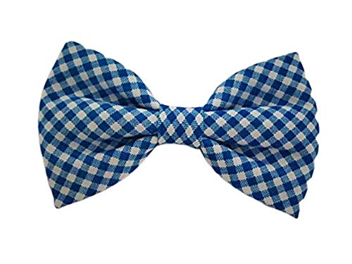 (Navy Blue Gingham - Dog Cat Pet Bow Tie Bowtie Collar Accessory for Large Dogs Handcrafted Bow Tie)
