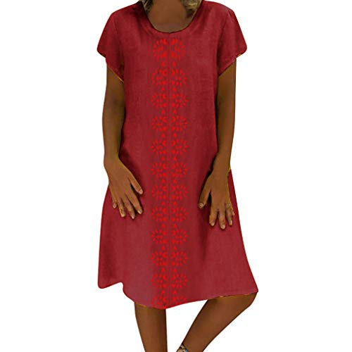 HAPPYSTORE Women Dresses Summer Style O-Neck Printed Cotton and Linen Casual Plus Size Dress Wine ()