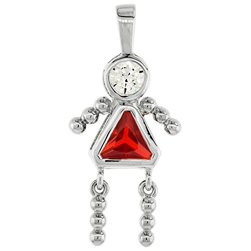 Sterling Silver Birthstone Charm July Baby Brat Girl Ruby Color Cubic Zirconia