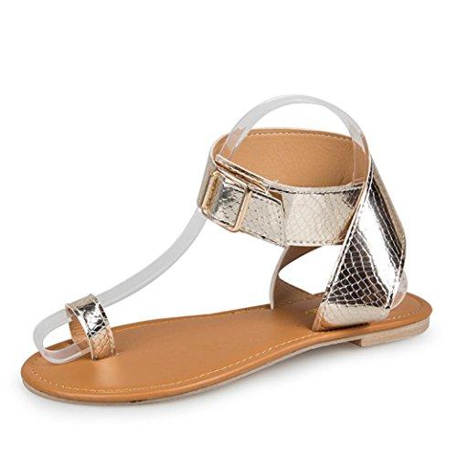 Cordones Bailarinas Verano De Planas Mujer Zapatos Cruzar Oro de Elegante y ASHOP Moda Bohemia Y Chanclas Playa Zapatillas Cinturón Rosa Cuero Sandalias Las Cómodo de Sandalias 6Ixzq8
