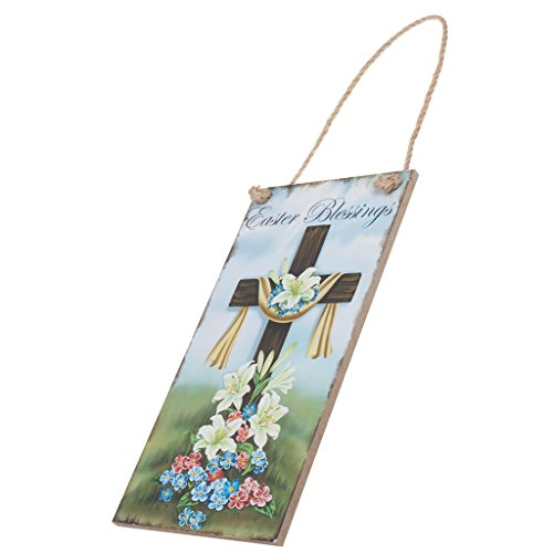 MonkeyJack Rustic Wooden Easter Blessings Door Wall Peg Board with Cross Floral (Blessing Cross Ornament)