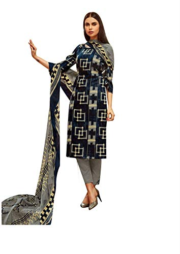 (Ladyline Rayon Printed Salwar Kameez Womens Indian Dress (Size_54/ Navy Blue))