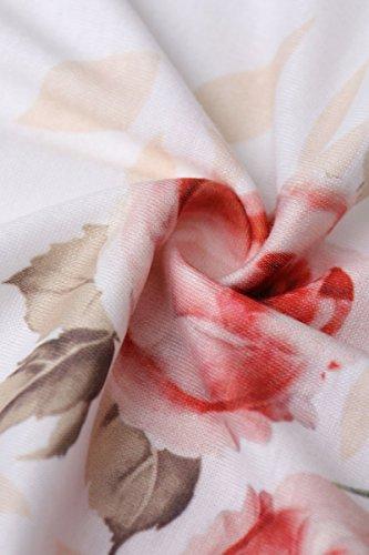 Yming Été À Manches Courtes Femmes Robe À Fleurs Imprimé Blanc Poche 02