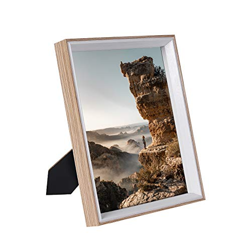 Shirly 8x10 Picture Frame Woodgrain 8x10 Frames for Tabletop Display Wall Mounting Decor 2 Pack Wood