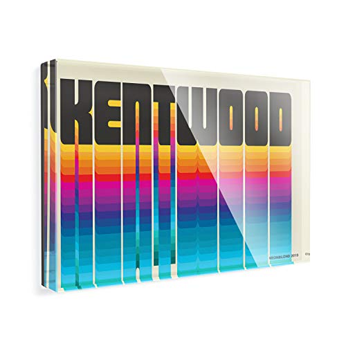 Acrylic Fridge Magnet Retro Cites States Countries Kentwood NEONBLOND