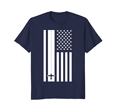 Mens Patriotic American Flag Runway Pilot T-Shirt Large - Usa Pilot