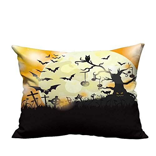YouXianHome Print Bed Pillowcases Halloween Flyer Design with Big Moon Eps Vector File. Washable and Hypoallergenic(Double-Sided Printing) 13x17.5 -