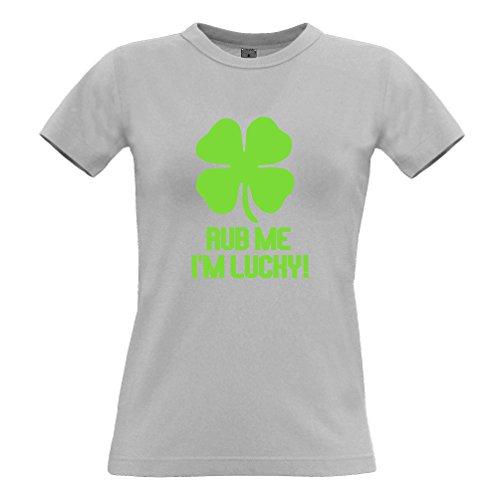 Tim and Ted Rub Me Sono fortunato Shamrock fortuna dello slogan Irish Clover divertente T-Shirt Da Donna
