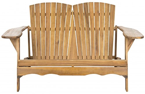 (Safavieh Patio Collection Hampton Adirondack Acacia Wood Bench, Natural)
