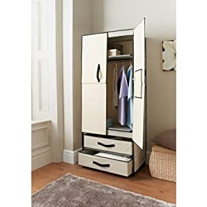 Deluxe Double Canvas Wardrobe Cupboard Shelves Box Closet W X D X Hcm With Add  Shelves To Closet