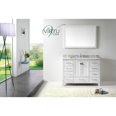 Traditional Bath Vanity Set (Virtu USA GS-50048-WMSQ-WH Transitional 48-Inch Single Sink Bathroom Vanity Set,)